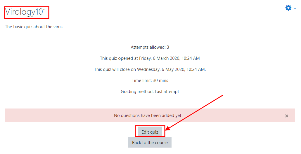 How to create a Moodle Quiz 12